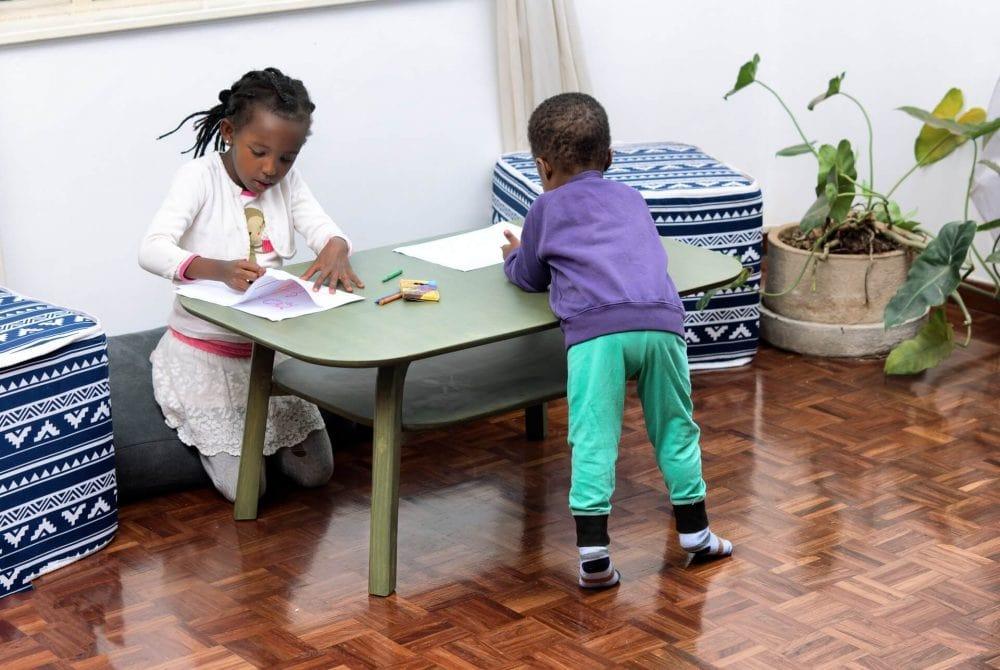 Kids Coloring on Moko's Coffee Table