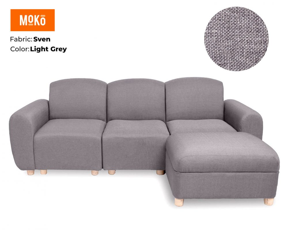Moko Djenga 3 Sitter with Ottoman Sven Light Grey