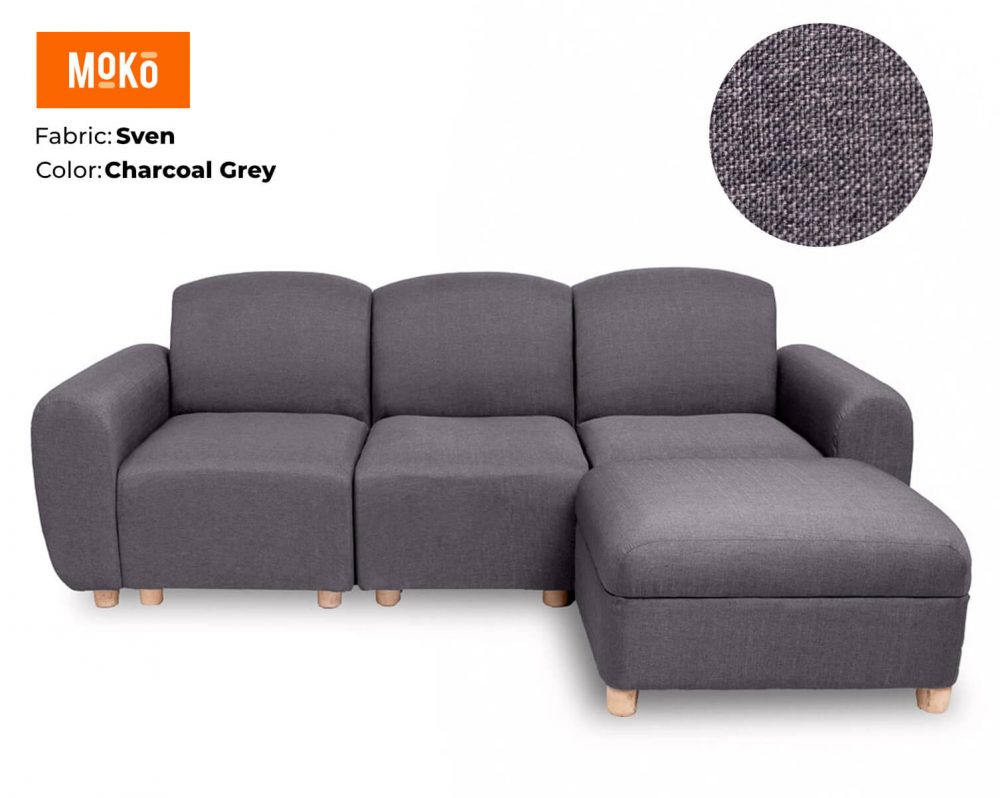 Moko Djenga 3 Sitter with Ottoman Sven Charcoal Grey