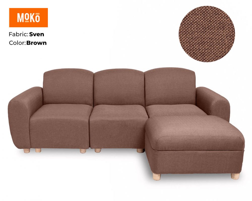 Moko Djenga 3 Sitter with ottoman Sven Light Brown