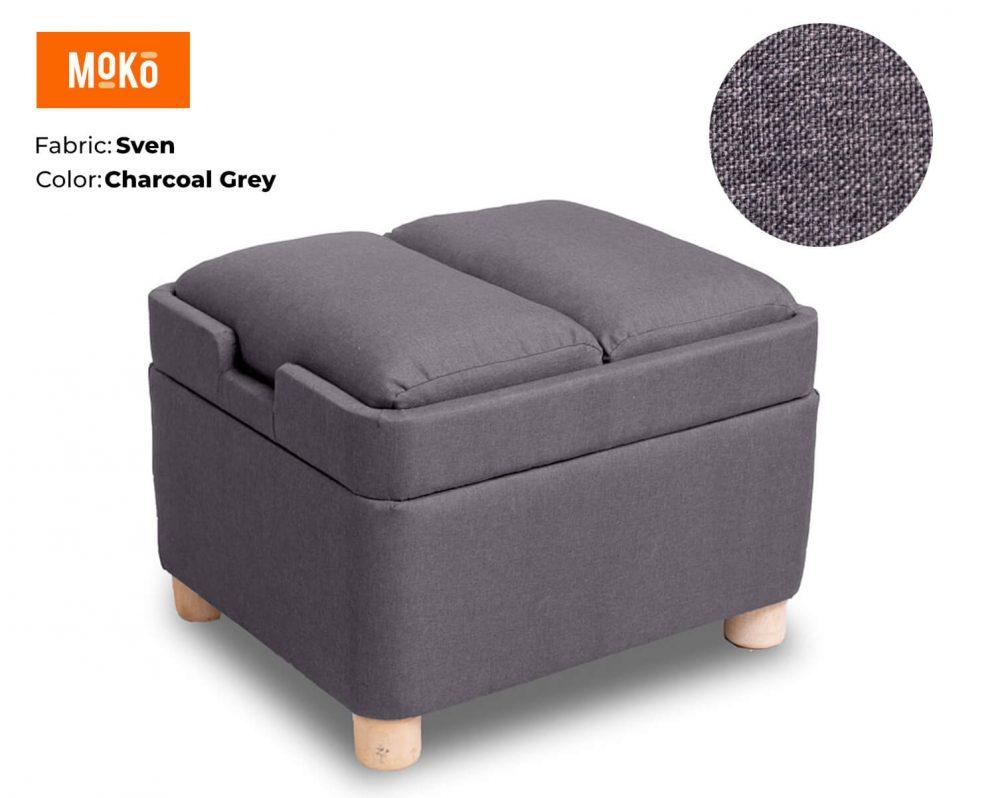 Moko Footstool Sven Charcoal Grey