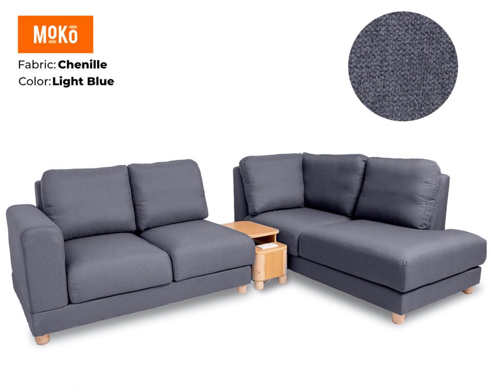 Moko Jiji 5 Seater Chenille Light Blue