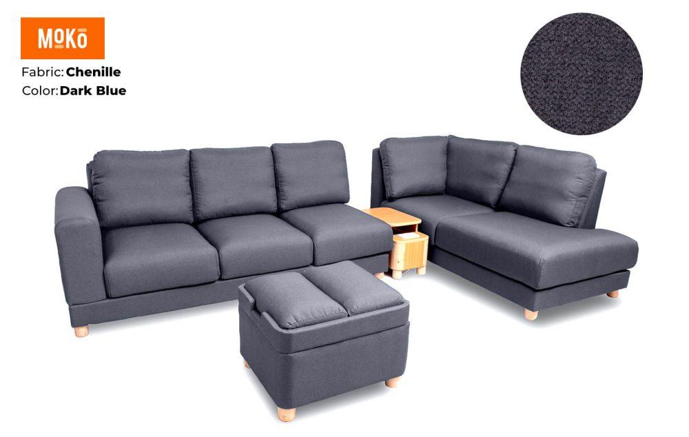 Moko Jiji 6 Seater + Footstool Chenile Dark Blue