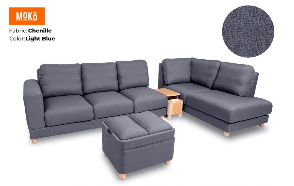 Moko Jiji 6 Seater + Footstool Chenille Light Blue