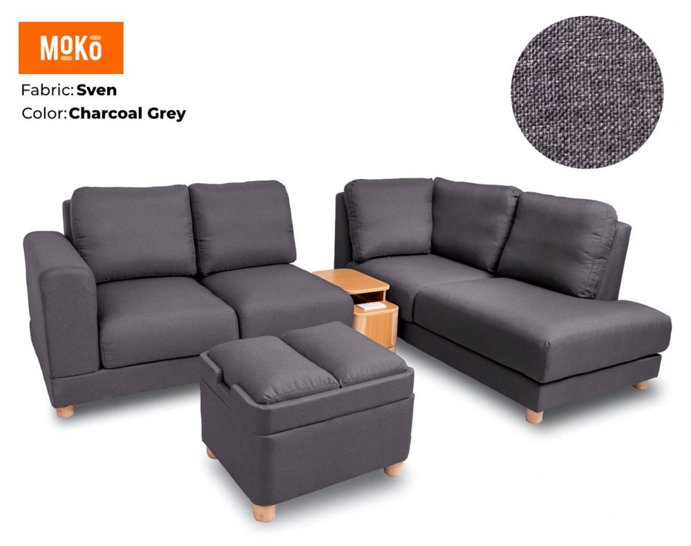 Moko Jiji 6 Seater + Footstool Sven Charcoal Grey