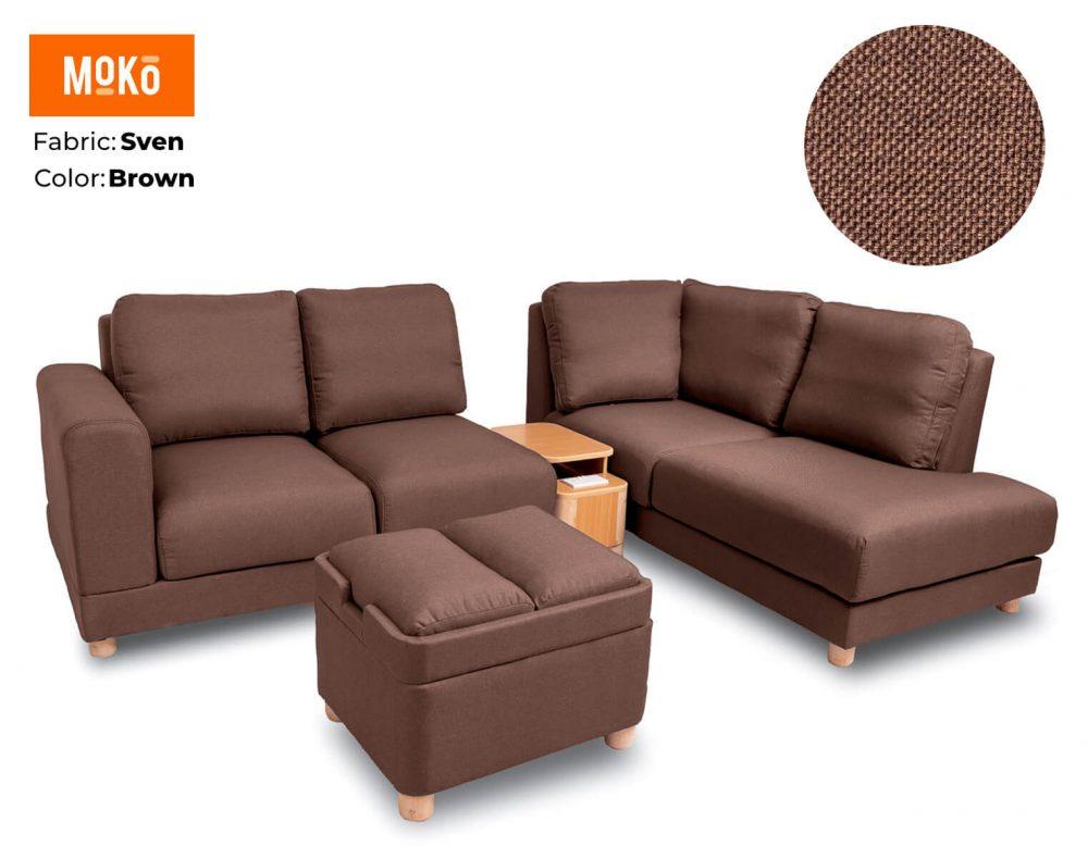 Moko Jiji 6 Seater + Footstool Sven Light Brown