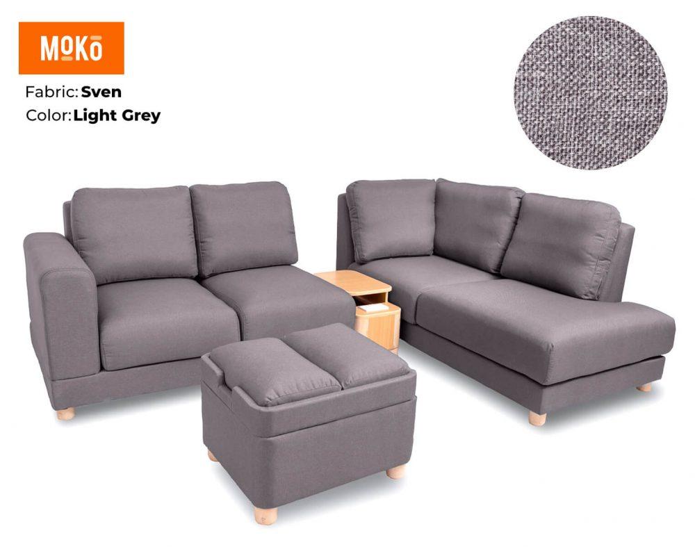 Moko Jiji 6 Seater + Footstool Sven Light Grey