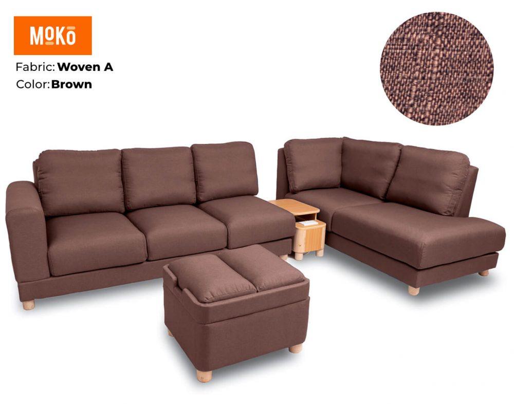 Moko Jiji 6 Seater + Footstool Woven A Brown