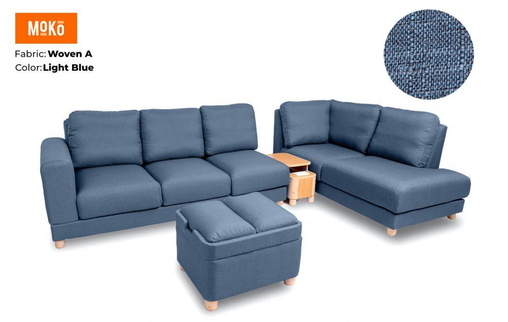 Moko Jiji 6 Seater + Footstool Woven A Light Blue