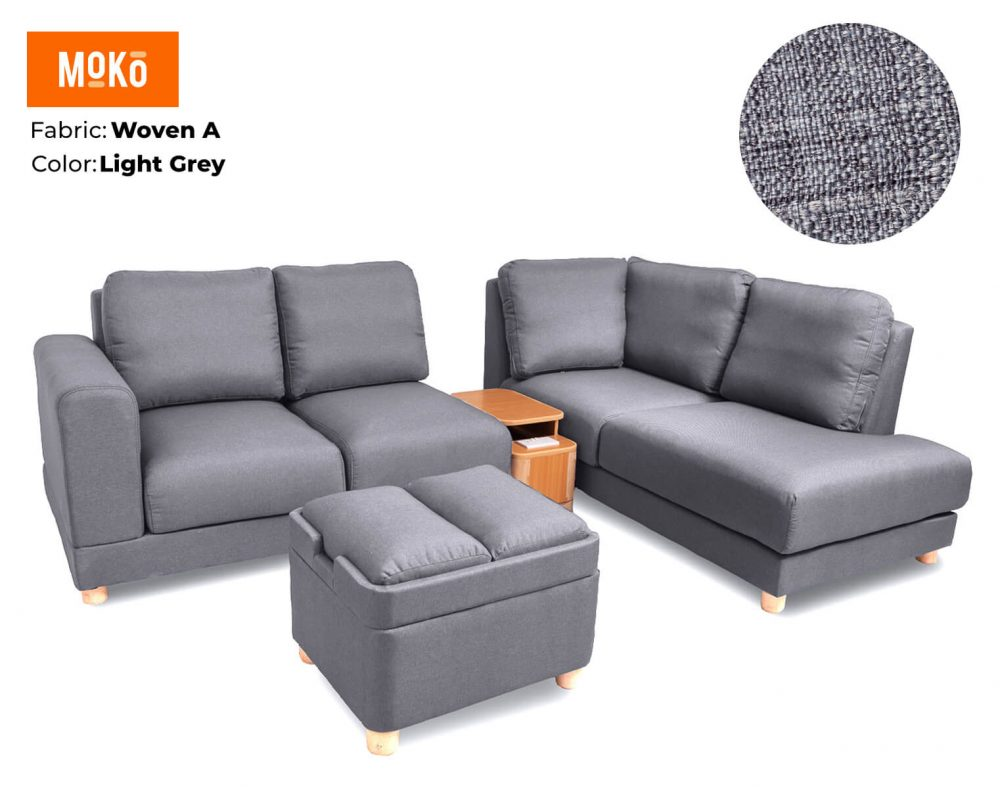 Moko Jiji 6 Seater + Footstool Woven A Light Grey