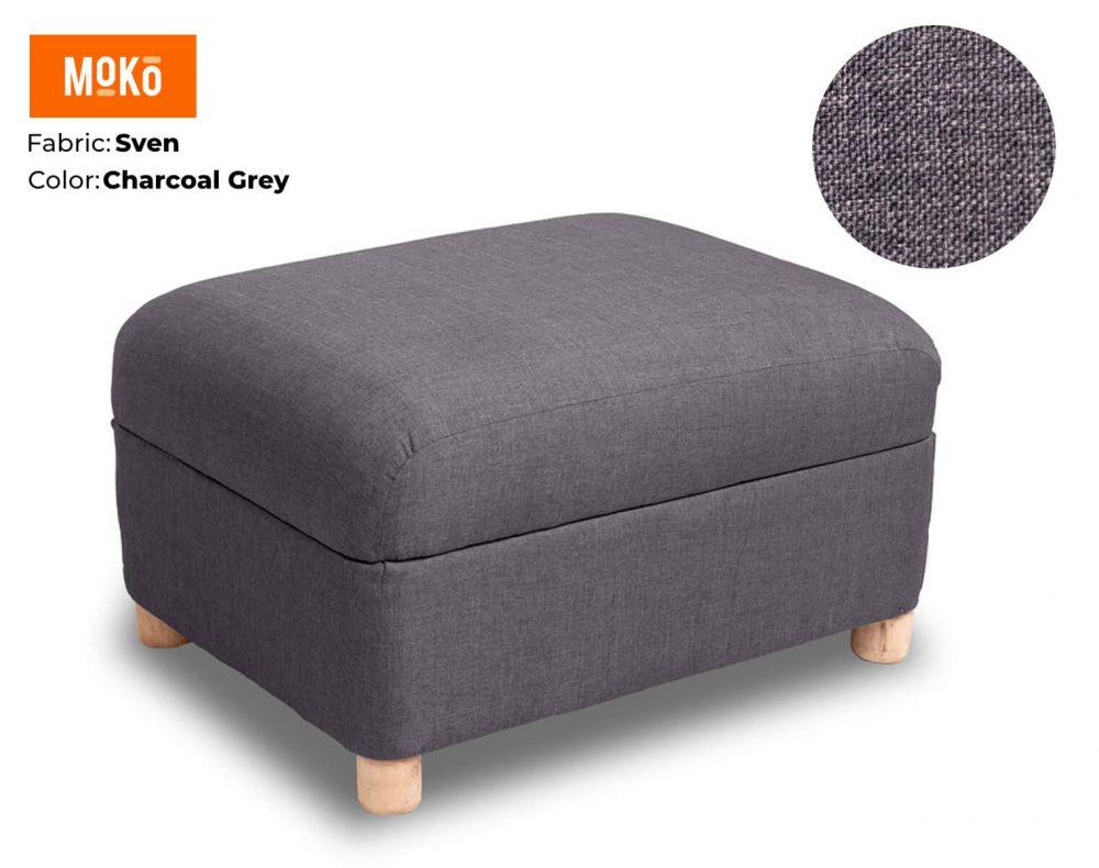 Moko Ottoman Sven Charcoal Grey