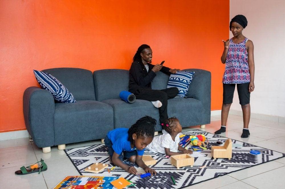 A Family on Moko's Djenga 3 Seater
